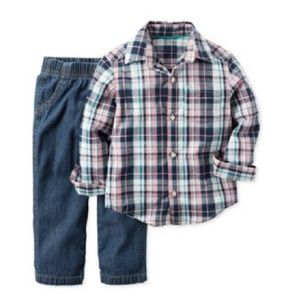 Carter's Plaid Shirt and Jeans Outfit 9 Mo.